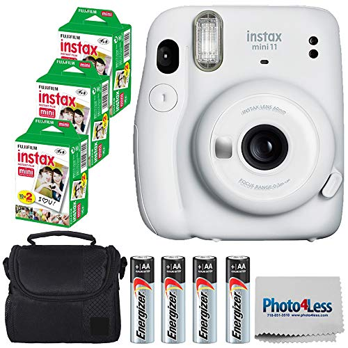 Fujifilm Instax Mini 11 Instant Camera - Ice White (16654798) + 3x Packs Fujifilm Instax Mini Twin Pack Instant Film + Batteries + Case - Instant Camera Bundle