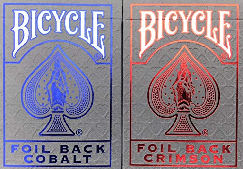 Bicycle Metal Luxe MetalLuxe Rider Back Playing Cards 2 Decks Crimson Red and Cobalt Blue Version 2