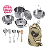 Mini Stainless-Steel Kitchen Toys, Tiny Size Pretend Cooking Utensils Toys for Kids, Cookware Pots and Pans Play Set with Cooking, Safety Educational Kitchen Experience Toy Stored in a Cute Cloth Bag