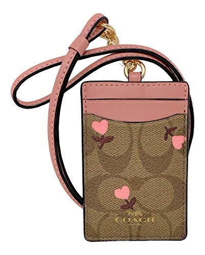 Coach Badge Lanyard ID Holder with Heart Floral Print Khaki