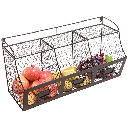 Large Rustic Brown Metal Wire Wall Mounted Hanging Fruit Basket Storage Organizer Bin w/Chalkboards