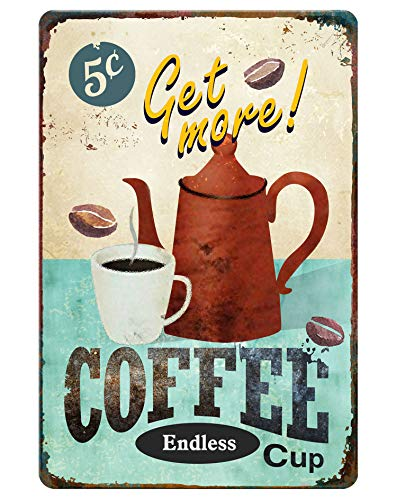 GSS Designs Get More Coffee Cup Metal Tin sign (12x8 Inch) - Retro Tin Sign for Kitchen Wall Home Decor (MTS-001)