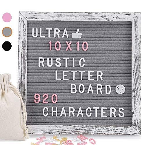 Letter Board, 25x25cm Filz Letter Board mit 920 Stück Weiße Gelbe Rosa Buchstaben und Symbols, Vintage Grau Kiefernholz Material, Dekorative Anzeigetafel mit Metallhaken und Ständer(Rustikales Grau)