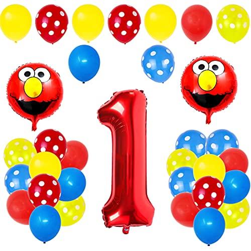 Palloncini Compleanno 1 Anno - 42 PCS Sesame-Streets Palloncini Party Supplies Bambini e Baby Shower Forniture per la Decorazione della Torta della Festa di Compleanno