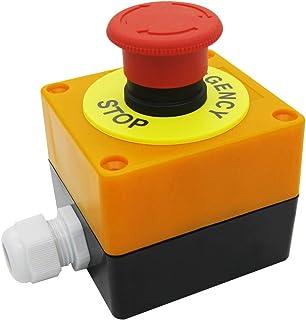 mxuteuk 1NC 1NO 22mm Rot Pilz Not Aus Druckschalter AC 660V 10A Schalter Station Box,HB2 ES545 BOX Y