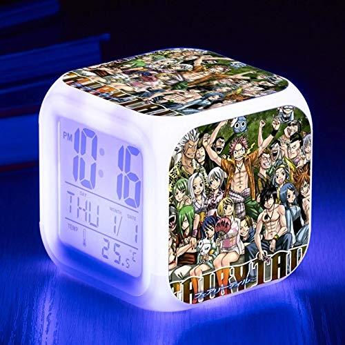 fdgdfgd Personaje de Dibujos Animados en 3D Puerta de la Estufa Tanjiro Despertador Color Infantil con termómetro Reloj de Fecha Regalo de cumpleaños de Navidad