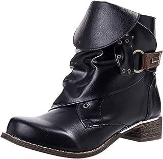 Kauneus Women Leather Retro Knight Short Boots Low Heel Vintage Martin Boots Ankle Booties