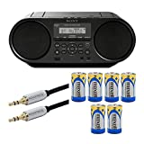 Sony ZSRS60BT CD Boombox with Bluetooth and NFC (Black) with Audio Cable and Batteries Bundle (3 Items)