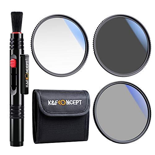 K&F Concept Kit di Filtri UV/CPL/ND per Obiettivo da 67 mm (3 Pezzi), Filtro UV + Polarizzatore Filtro + Filtri a Densità Neutra (ND4) + Penna di Pulizia + Tasca per Filtro