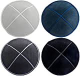 HolYudaica Pack of 4-Pcs - Hq 4-Colors Suede Kippah for Men Boys and Kids, Yamaka Hat from Israel - Kippot Bulk (5.9inch - 15CM)