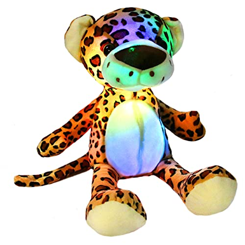 Leyue Beleuchten Sie Cheetah Soft Plüschspielzeug mit LED-Nachtlichter Glühen Leopard-Geburtstag für Kinder Kleinkinder, 15.5
