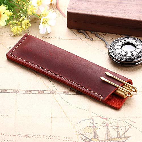 MäppchenHandgemachte echte Leder Stift Tasche Rustikale Leder Bleistift Tasche Halter Fall Vintage Retro-Stil Zubehör für Leder Notebook Kaffee