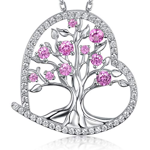 Zavest Tree of Life Necklace for Women Pink Tourmaline Sterling Silver Necklace Love Heart Tree Pendant