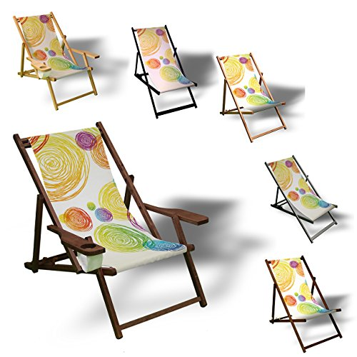 Printalio - Bunte Kreise - Liegestuhl Bedruckt Balkon Garten Sonnenliege Relax Holz Terrasse   ohne Armlehne, Dunkelbraun