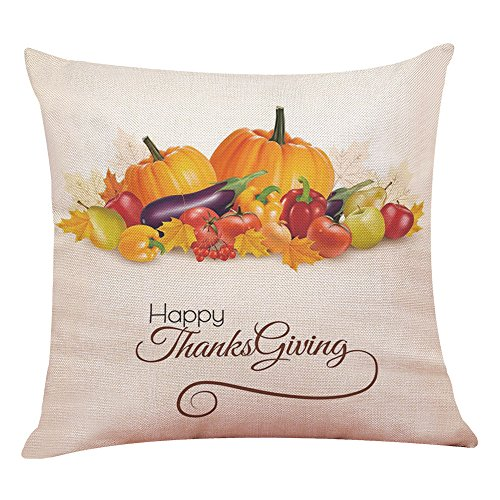 Hot Sale! Snowfoller Thanksgiving Gifts Pillowcase, Happy Fall Harvest Pumpkin Pillow Cover Home Decoration 18x18Inch (B)