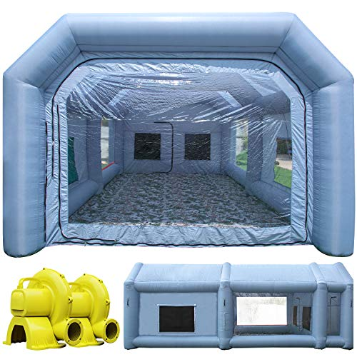 TKLoop Inflatable Paint Spray Booth, 26X15X10Ft with 350W+950W 2 Blowers,Portable Painting Booth Tent, Upgrade More Durable with Air Filter System Environment Friendly