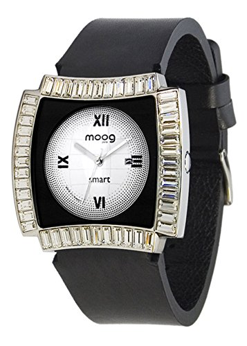 Moog Paris Smart Reloj para Mujer con Esfera Blanca y Negra, Correa Negra de Piel Genuina y Cristales Swarovski - M45092-102