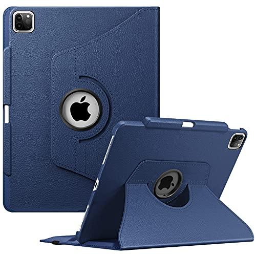 FINTIE Funda Giratoria para iPad Pro 12,9' (5.ª Generación, 2021) - Carcasa con Portalápiz Rotación de 360 Grados Auto-Reposo/Activación Compatible con iPad Pro 12,9' 2020/2018, Azul Oscuro