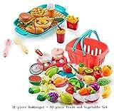 WLDOCA 41 PCS Schneiden Spielzeug Food Kitchen Spielzeug Spielen für Kleinkind-Kind-Plastik Obst Gemüse Meeresfrüchte und Hamburger Fastfood-Set und Kochen Werkzeuge