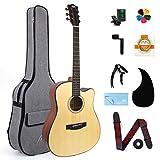 AKLOT Guitarra Acústica,4/4 abeto y caoba Guitarra Folk Acustica 41 pulgadas 6 metálicas...