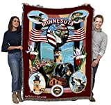 State of Minnesota - Dwight D Kirkland - Cotton Woven Blanket Throw - Made in The USA (72x54)