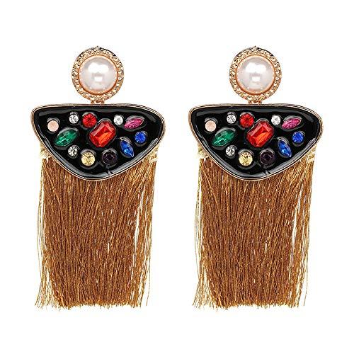 Yhhzw Pendientes Pendientes Estilo Étnico Bohemio Pendientes Con Borlas Aleación Diamante Craft Ear Jewelry-Brown