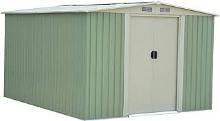 Goplus Outdoor Storage Shed Galvanized Steel Garden Tool House w/Sliding Door, 10 x 8ft (Green)