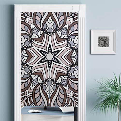 JISMUCI Vorhänge für Türen,Erwachsene Malvorlagen Nahtloser Zendoodle Vektor,Türvorhang Für die Küche Wohnzimmer Schlafzimmer