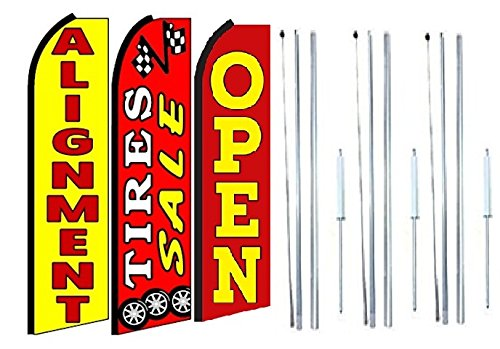 Alignment,tire Sale Open King Swooper Feather Flag Sign Kit with Complete Hybrid Pole Set- Pack of 3