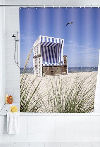 WENKO 20963100 Duschvorhang Strandkorb - waschbar, mit 12 Duschvorhangringen, 100 % Polyester, Mehrfarbig