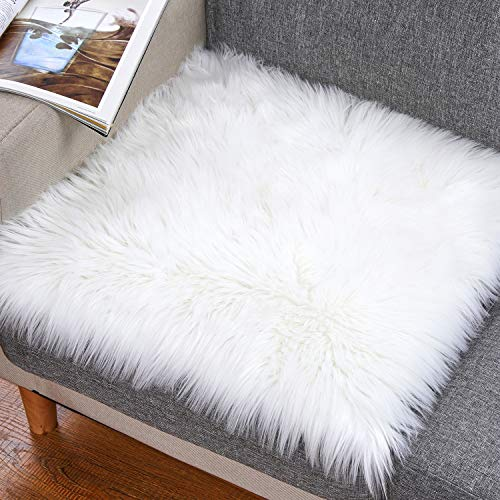 Noahas Faux Fur Sheepskin Silky Seat Cushion Home Decor Long Wool Area Rugs Carpet Soft Fluffy Plush Chair Seat Pads Universal Fit for Home Office Restaurant Chair, 1.6ft x 1.6ft, White