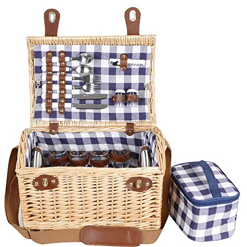 Review Of WUSHIYU Picnic Basket Extra Large Willow Picnic Basket with Service Set for 4 Persons, Nat...