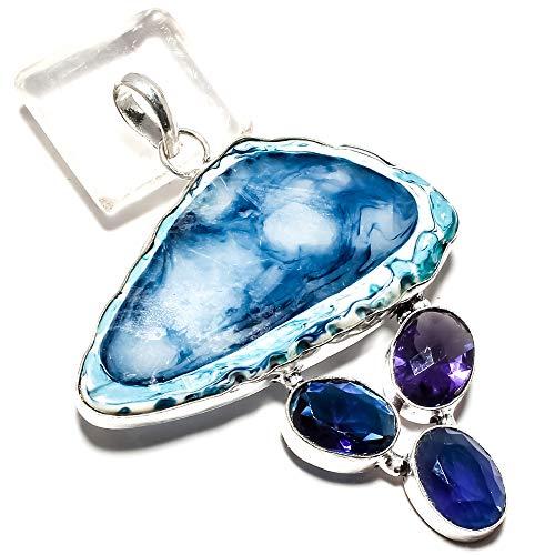 jewels paradise Impresionante Colgante de ágata Azul y Zafiro Azul Hecho a Mano en Plata de Ley 925 (SF-2181)