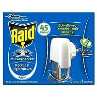 Der Raid (Paral) Mücken-Stecker bietet Ihnen in 45 Nächten (jeweils 8 Stunden) Mücken-Schutz vor lästigen und unangenehmen Stech-Mücken für einen erholsamen Schlaf Effektiver und duftfreier Mückenschutz in allen Räumen bis zu 30m³, auch bei Beleuchtu...
