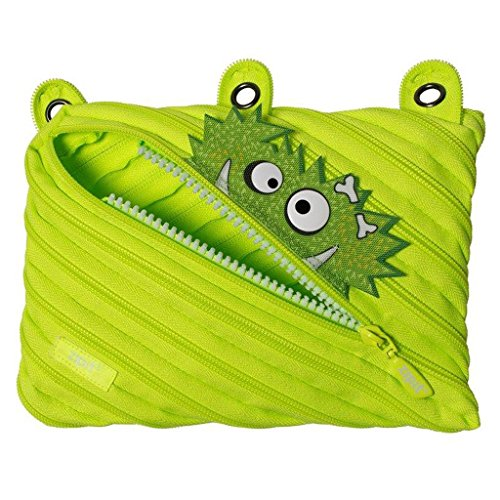 ZIPIT Talking Monstar 3-Ring Binder Pencil Pouch, Large Capacity Pen Case for Kids, Made of One Long Zipper! (Lime)
