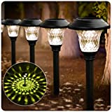 BEAU JARDIN 8 Pack Solar Lights Bright Pathway Outdoor Garden Stake Glass Stainless Steel...