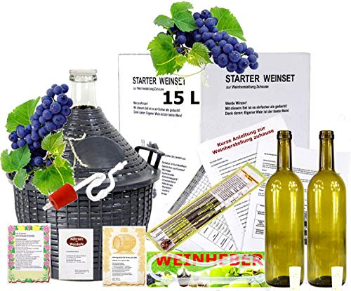 Starterset -Mach Wein selbst komplettes Weinset Wein selbermachen Weinballon (15 Liter)