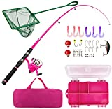 Lanaak Pink Fishing Pole and Tackle Box - Telescoping Rod with Spinning Reel, Net, Travel Bag, and...