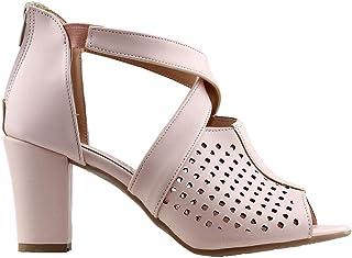 Ayakland 811-1175 Günlük 7 Cm Topuk Bayan Cilt Sandalet Ayakkabı Pudra