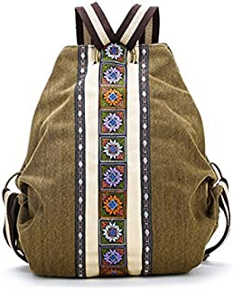 Mochila de Lienzo Etnico Tribal para Mujer Bolsa de Hombro Hippie Mochila de Estilo de Bohemio para Ninas