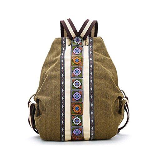 REFURBISHHOUSE Mochila de Lienzo Etnico Tribal para Mujer Bolsa de Hombro Hippie Mochila de Estilo de Bohemio para Ninas