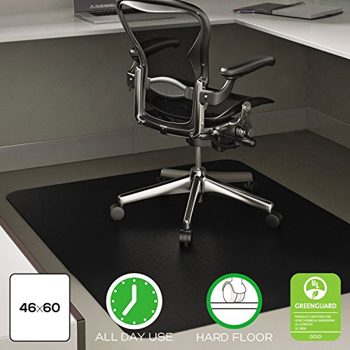 deflecto CM21242BLK EconoMat Anytime Use Chair Mat for Hard Floor 45 x 53 Black