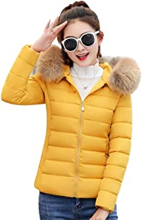 BOZEVON Women Puffer Jackets Coats - Ladies Fashion Winter Warm Slim Fit Short Fur Hooded Down Padded Thicken Quilted Windproof Outwear Jacket with Pockets