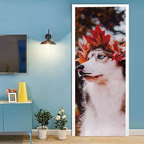 Pegatinas para puertas interiores 3D autoadhesivas, murales de pared para puerta de pared, diseño de perro de animales de tiro real, impermeable, vinilo extraíble de PVC 77 x 220 cm