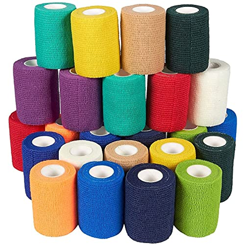24 Pack Self Adhesive Bandage Wrap, Cohesive Vet Tape (12 Colors, 3 in x 5 Yards)