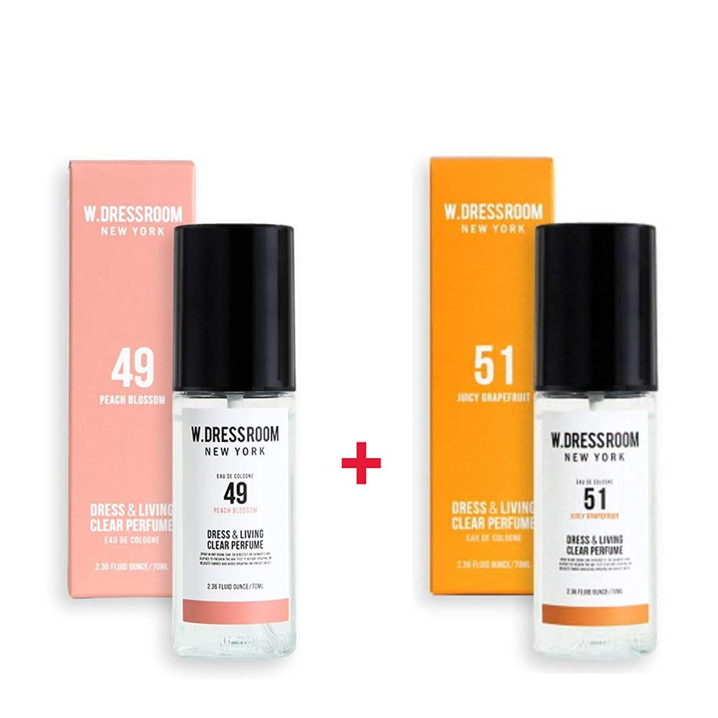 貫通するチャンス旅行W.DRESSROOM Dress & Living Clear Perfume 70ml (No 49 Peach Blossom)+(No 51 Juicy Grapefruit)