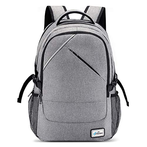 Fresion Laptop rugzak heren universiteit schooltas schoolrugzak dames business laptop - rugzak met USB-aansluiting 25L, trolley rugzak voor Lenovo laptops 14-15,6 inch grijs