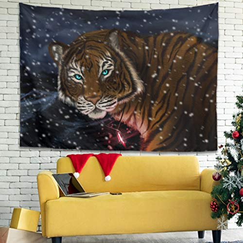 WellWellWell Tapiz de pared con diseño de tigre, 100 x 150 cm, color blanco