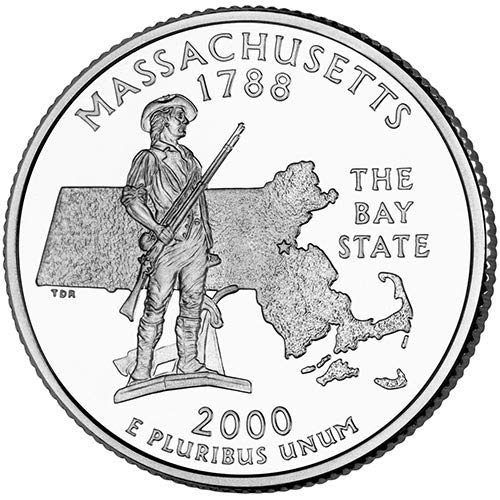2000 S Clad Proof Massachusetts State Quarter Choice Uncirculated US Mint
