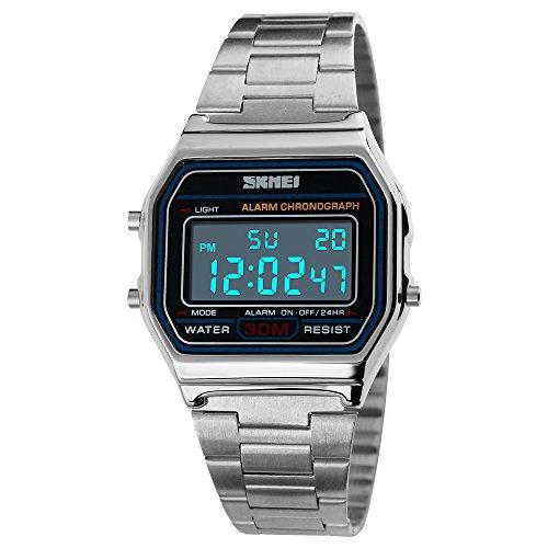 Gosasa Classic Unisex Women's Men's Digital Multifunction Stainless Steel Band Square Waterproof Watch (Silver)